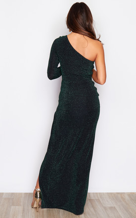 Isabella One Shoulder One Sleeve Lurex Maxi Dress Green by Girl In Mind