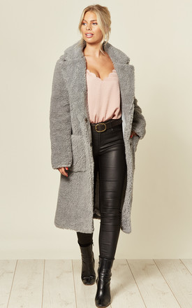Amy Silver Oversized Longline Teddy Coat by De La Creme Fashions Product photo