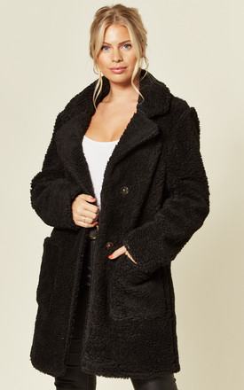 Jacqueline Black Oversized Borg Teddy Coat by De La Creme Fashions Product photo