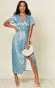 Satin Cap Sleeve Midi Dress in Blue Dot & Rose Print by D.Anna