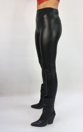 PU Leather Look Leggings in Black by Unscripted