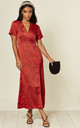 Satin Midi Wrap Dress in Red Leopard Print by D.Anna