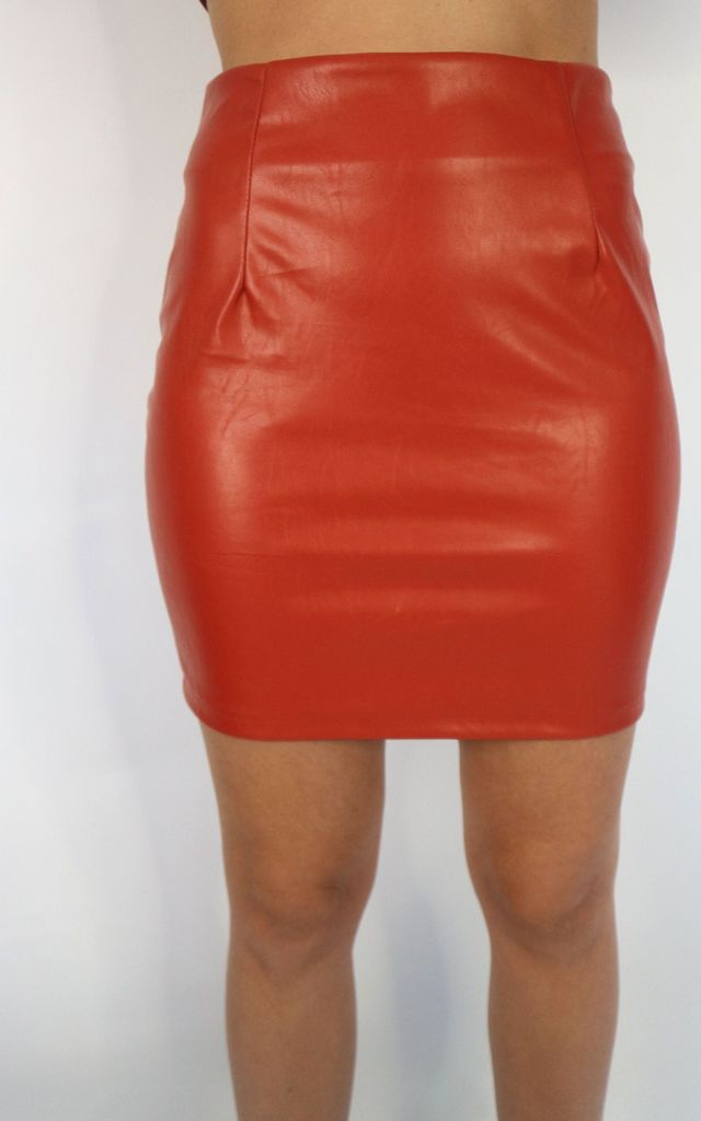 PU Faux Leather Mini Skirt in Rust by Unscripted