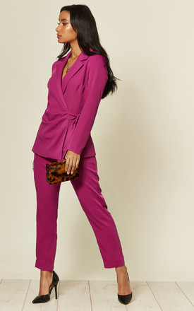 Straight Leg High Waisted Trousers in Fuchsia by LIENA