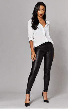 Coated Skinny Trousers In Black by ONLY Product photo