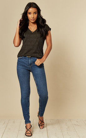 Mid Waist Slim Fit Jeans In Medium Blue by Pieces Product photo