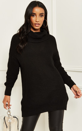 Roll Neck Ribbed Jumper in Black by Bella and Blue