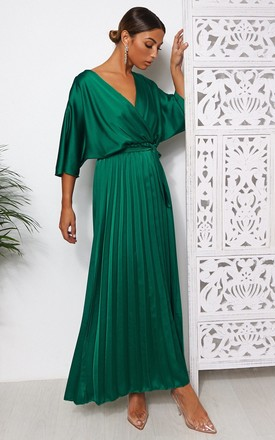 Green Cape Sleeve Satin Maxi Dress by The Fashion Bible Product photo