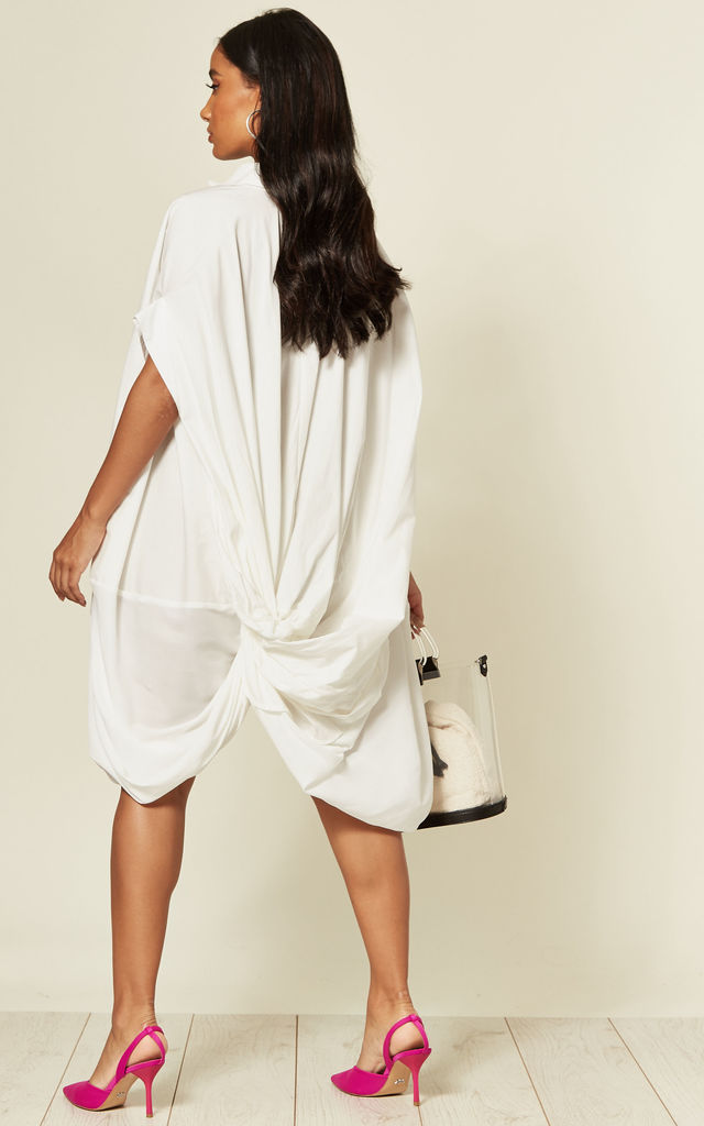 White Oversized Shirt Dress with Knotted Back by CY Boutique