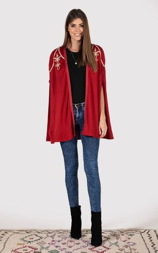 Cleopatre Embroidered Cape in Dahlia Red by Diamantine