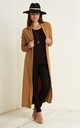 Grace Open Front Midi Jacket In Camel by Oops Fashion