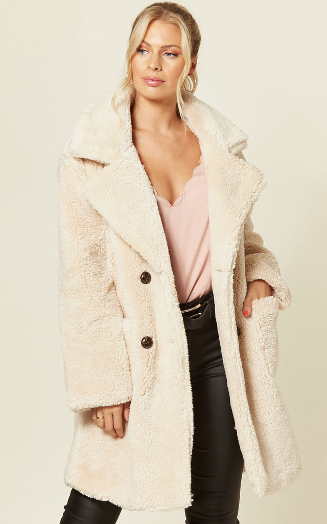 TILLY STONE DOUBLE BREASTED TEDDY COAT WITH DROP SHOULDER by Blue Vanilla