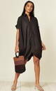 Black Oversized Shirt Dress with Knotted Back by CY Boutique