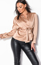 Beige Faux Satin Long Sleeve Shirt with Belt by LILY LULU FASHION