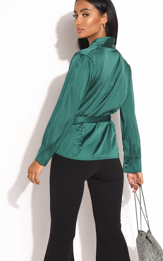 Green Faux Satin Long Sleeve Shirt with Belt by LILY LULU FASHION