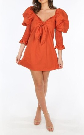 Rust Puff Sleeve Dress by Styled Clothing Product photo