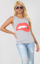 Grey Vest Top with Red Lips Graphic by Oops Fashion