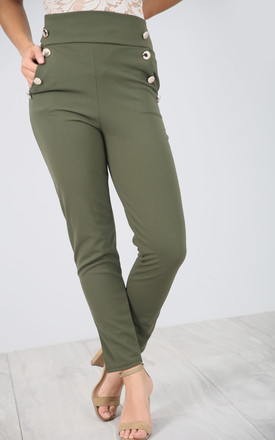 High Waisted Button Cigarette Trousers in Khaki by Oops Fashion