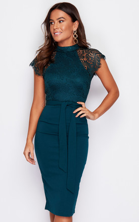 Lyla High Neck Lace Top Midi Dress Emerald Green by Girl In Mind Product photo