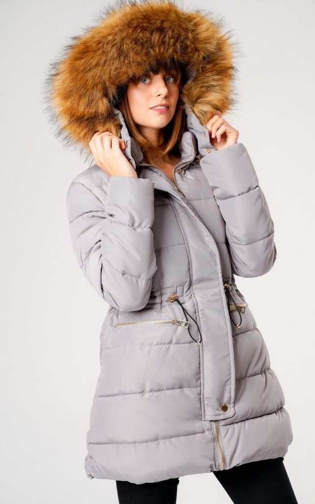 Grey Long Parka Coat with Hood by LOVE SUNSHINE