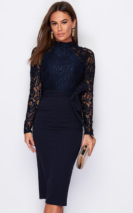 Abbey Hi Neck Long Sleeves Midi Dress Navy by Girl In Mind Product photo