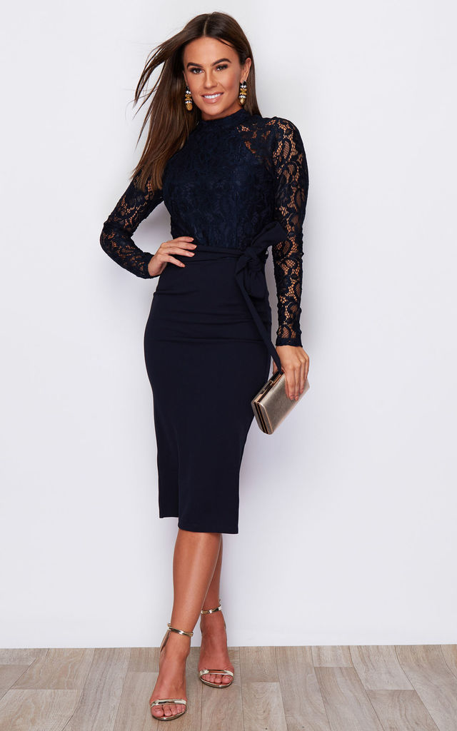 Abbey Hi Neck Long Sleeves Midi Dress Navy by Girl In Mind