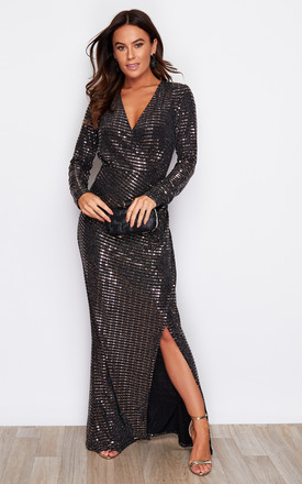 Elizabeth Sequin V Neck Wrap Maxi Dress Bronze by Girl In Mind Product photo