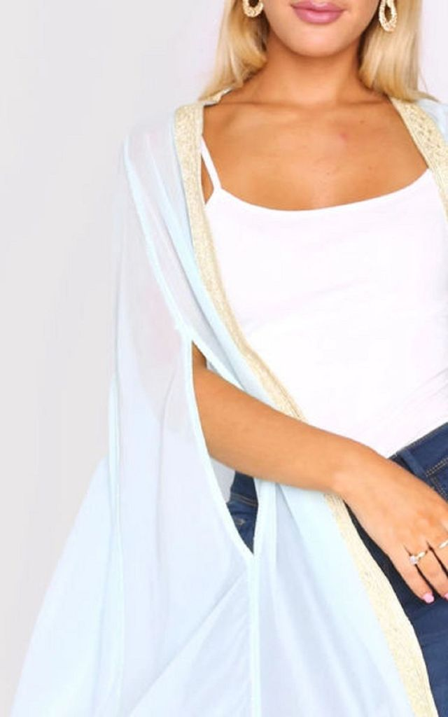 Amalthe Maxi Beach Cover Up Cape in Nile Blue by Diamantine