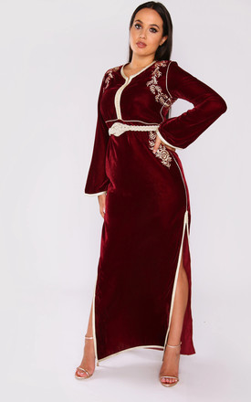 Lola Velour Long Sleeve Maxi Dress in Burgundy by Diamantine
