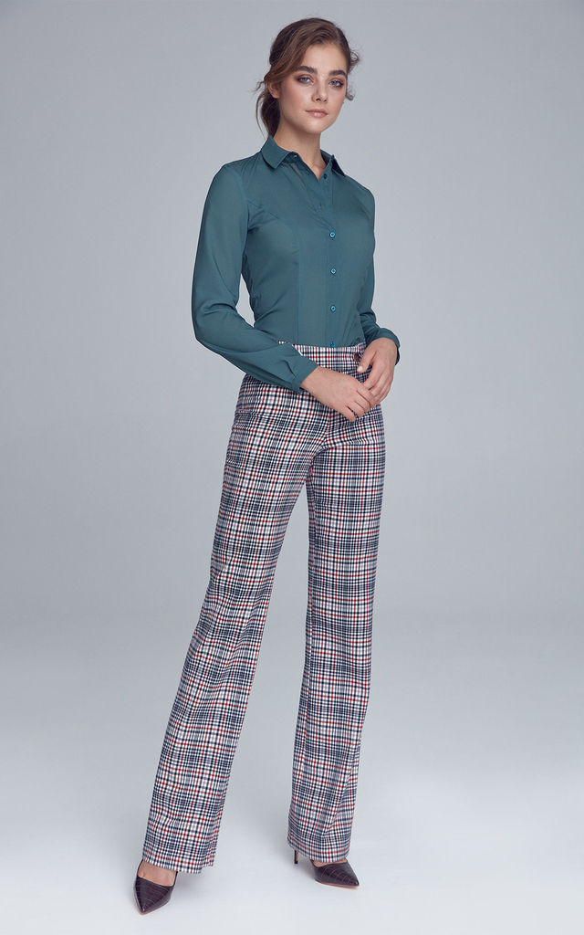 High Waisted Trousers in Blue & Red Check by so.Nife