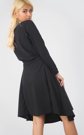 Long Sleeve Button Midi Dress in Black by Oops Fashion