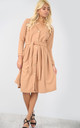 Long Sleeve Button Midi Dress in Camel by Oops Fashion
