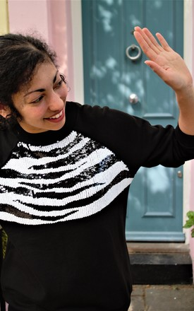 Zebra Print Sweatshirt in Black by AMPOUR