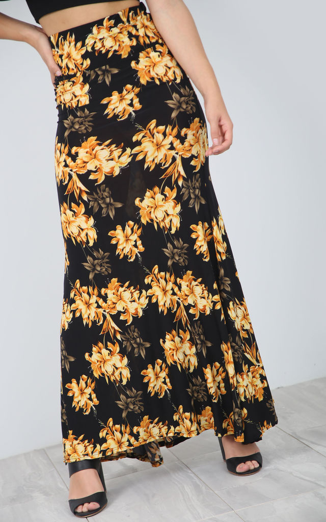 High Waisted Maxi Skirt in Yellow Floral Print by Oops Fashion