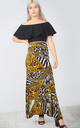 High Waisted Maxi Skirt in Mixed Animal Print by Oops Fashion