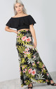 High Waisted Maxi Skirt in Green Tropical Print by Oops Fashion