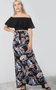 High Waisted Maxi Skirt in Blue Floral Print by Oops Fashion