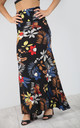 High Waisted Maxi Skirt in Black Floral Print by Oops Fashion