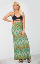High Waisted Maxi Skirt in Green Aztec Print by Oops Fashion