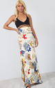 High Waisted Maxi Skirt in Beige Floral Print by Oops Fashion