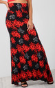 High Waisted Maxi Skirt in Red Floral Print by Oops Fashion