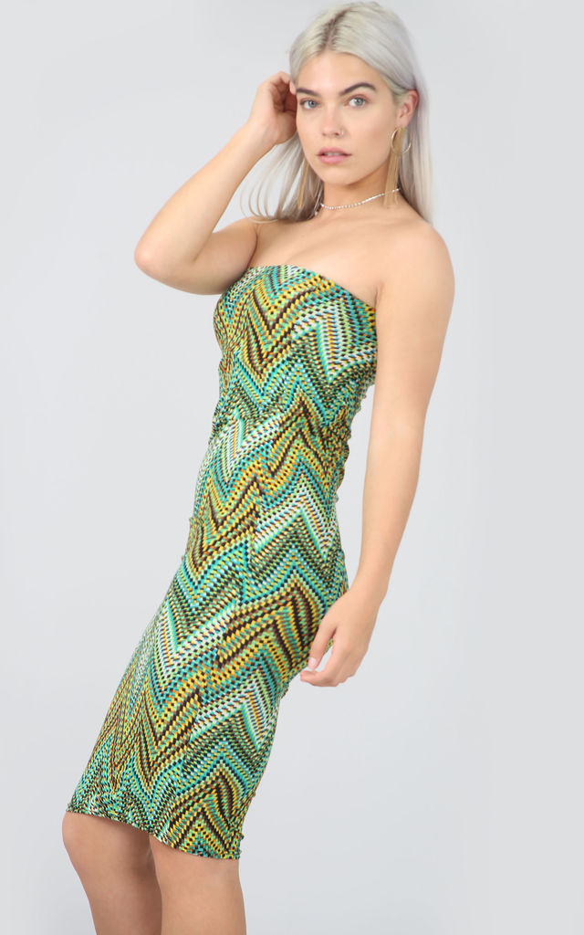Strapless Bodycon Dress in Green Aztec ZigZag by Oops Fashion