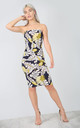 Bandeau Bodycon Dress in Black/Yellow Tropical Print by Oops Fashion