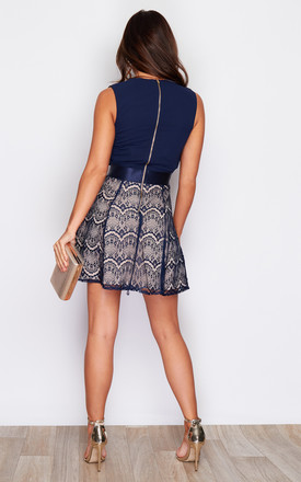 Tallie Pleated Plunge Lace Skater Dress Navy by Girl In Mind