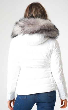 White Belted Puffer Jacket with Faux Fur Hood by Love Sunshine