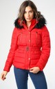 Red Padded Jacket with Black Faux Fur Hood by Love Sunshine