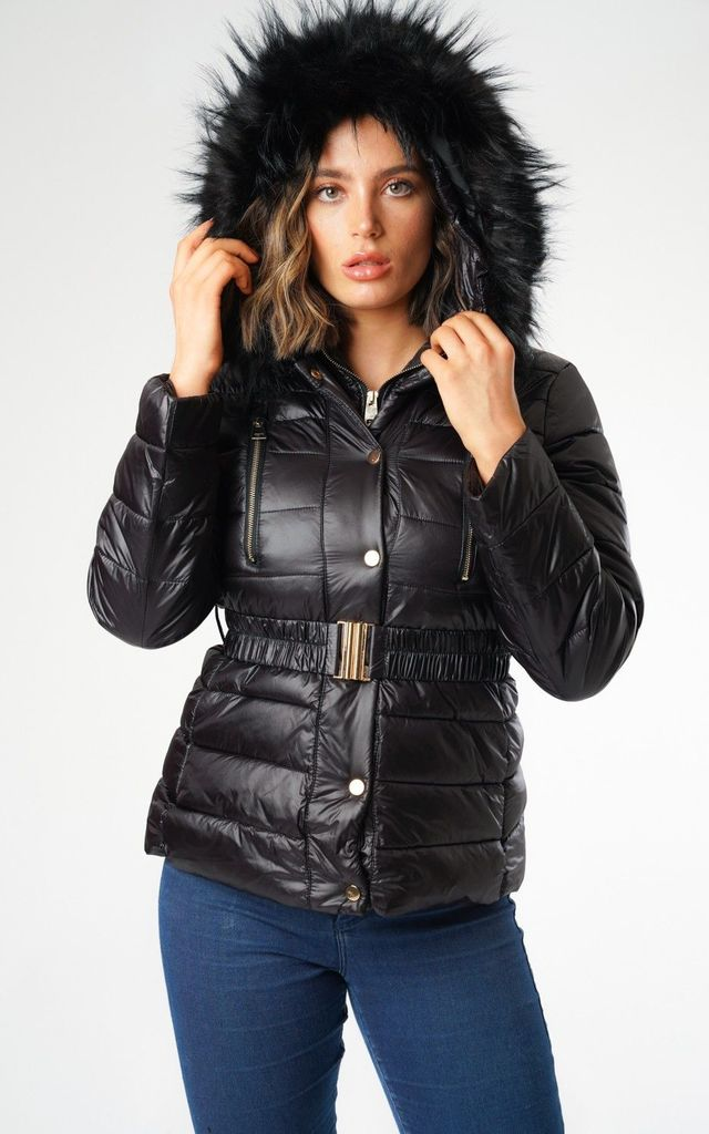 Puffer Jacket with Faux Fur Hood in Black by Love Sunshine