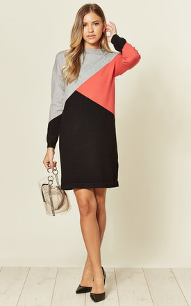 Jett Long Sleeve Jumper Dress in Black/Coral Colour Block by SUGARHILL BRIGHTON