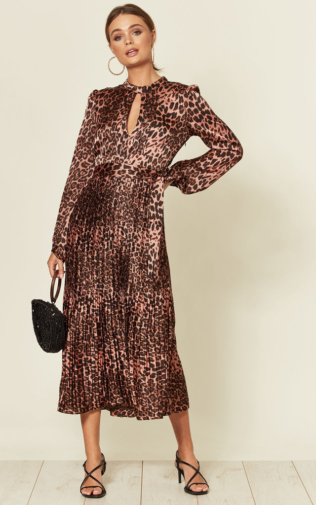 Long Sleeve Midi Dress with Peephole in Pink Leopard Print by Traffic People