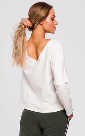 White Long Sleeve Top with Low V Back by MOE